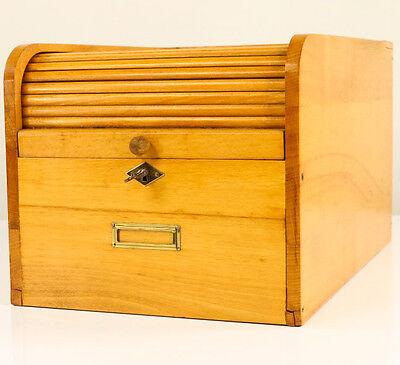 Alter Büro Karteikasten Holz Rollladen DIN A5 Lamellen mit Schloß 50er Jahre