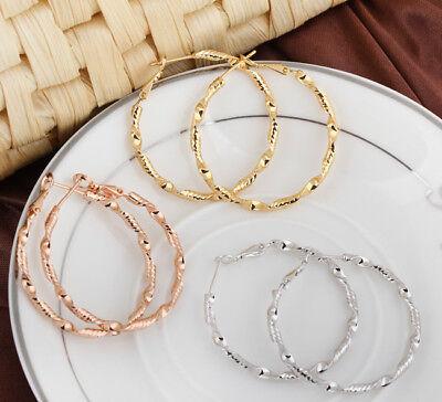 (18K Gold Plated Women Crystal Drop Dangle Twist 3 mm thin Hoop Earrings Gift)