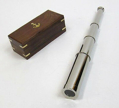 "Pirate Spyglass Chrome Finish Brass 15"" Wooden Case Nautical Telescope"