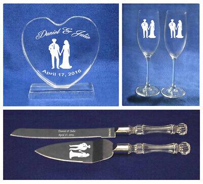 Crystal Police Officer policeman Wedding Cake Topper glasses knife Engraved  ](Police Cake Topper)