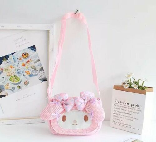 Cute My Melody Women Straw Crossbody Satchel Shoulder Bag Messenger Phone Bag