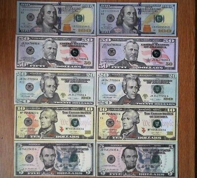 2 each $100/50/20/10/5 US Bills. Best Real Looking Movie Prop Play Money Prank