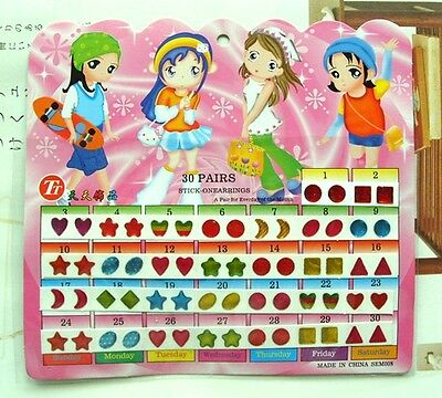 FD553 Kid Girl Crystal Stick Earring Sticker Toy Body Bag Party Jewellry ~60pcs~