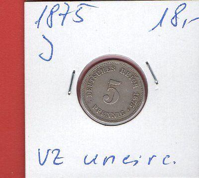 5 PF 1875 J - J 3  uncirculiert    ab 5 auktionen portofrei