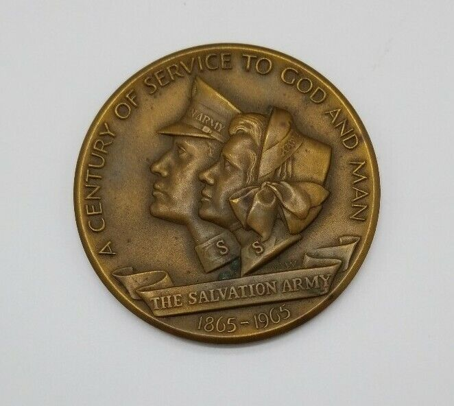 """The Salvation Army """"A Century of Service to God & Man"""" 1865-1965 Bronze Medal"""