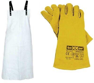 1 x Schweißerschürze, Vollleder, natur/grau 1 Paar Schweißerhandschuhe, gelb (Paar Schürze)
