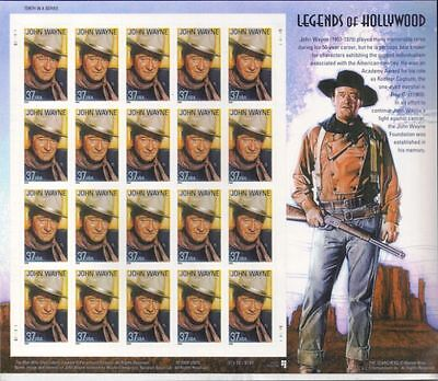 RJAMES: US 3876 JOHN WAYNE LEGENDS OF HOLLYWOOD SOUVENIR SHEET, MNH, VF
