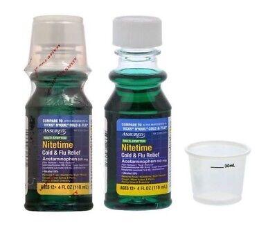 2x (4-oz. Bottles) Nitetime Cold & Flu Liquid Generic Vicks NyQuil Free Shipping ()