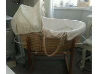BEAUTIFUL MOTHERCARE BABY'S UNISEX MOSES BASKET AND ROCKING STAND