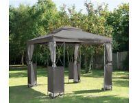 Luxury Steel Framed Gazebo 4 Side Mesh Walls Outdoor Garden - Grey