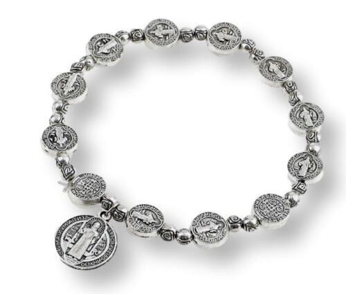 St Saint Benedict Medal Rosary Bracelet Silver Pulsera De Plata De San Benito