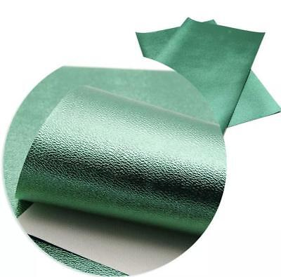 Emerald green metallic textured faux leather fabric sheet / full or 1/2 sheet - Emerald Green Metallic