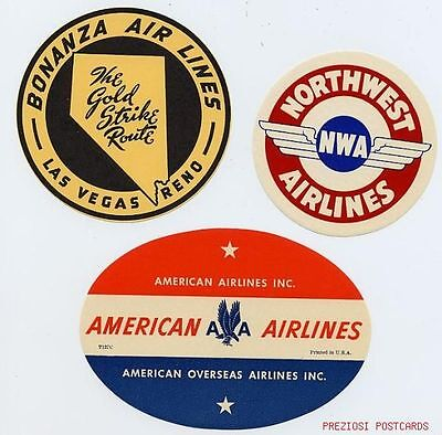 3 Labels   Bonanza Airlines  American Overseas Airlines  Northwest Airlines