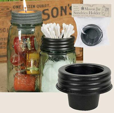 Farmhouse/Cottage/Primitive/Country Mason Jar Sundries Cup Lid Holder