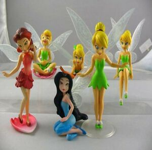 6pcs Tinker Bell Fairies Cake Toppers Princess Figures Dolls PVC Kids Party Toy