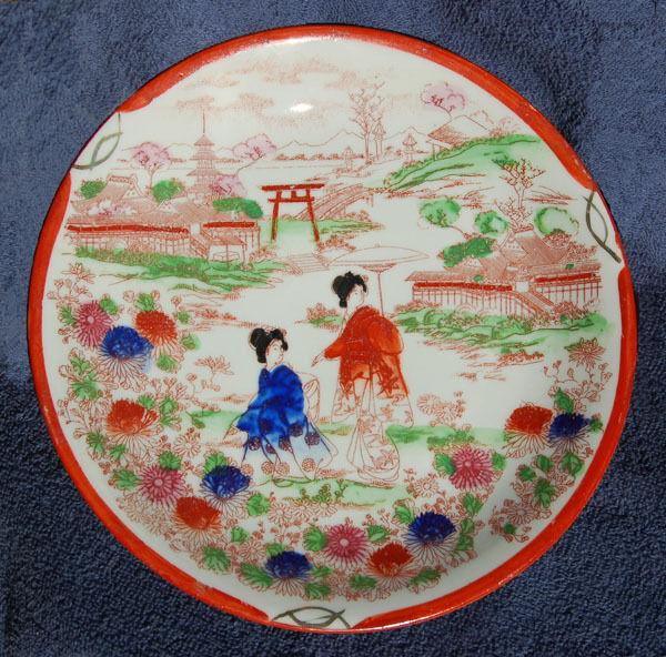 LARGE antique ORIGINAL original colorful Porcelain PLATE found w/ OLD bottles