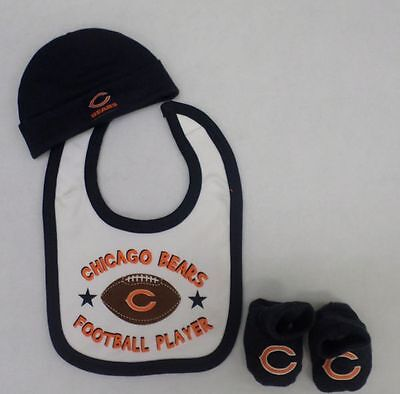 Nfl Chicago Bears Baby 3 Pack Cap  Bib  And Booties 0 6 Months