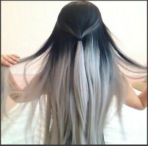 "GRAY OMBRE Clip in hair extension,Straight hair,60 cm, 24"" Yellowknife Northwest Territories image 3"