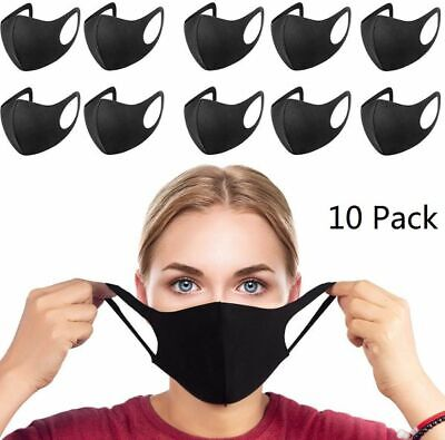 10 PACK - Reusable Masks  Black Cloth Washable Protective Mouth Face