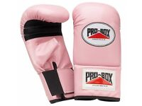 A Pair of Pro-Box Ladies Pink Bag Gloves - Large + strapping