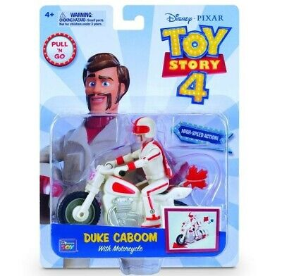 NEW Disney Pixar Toy Story 4 Pull 'N Go Duke Caboom with Motorcycle