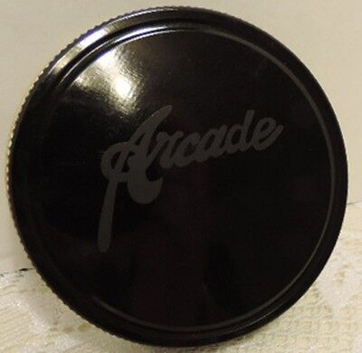 BLACK METAL ARCADE LOGO LID.   FITS ARCADE CRYSTAL COFFEE GRINDER GLASS JAR