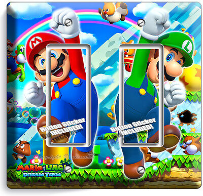 Mario And Luigi Decorations (SUPER MARIO AND LUIGI BROS DOUBLE GFCI LIGHT SWITCH WALL PLATE COVER ROOM)