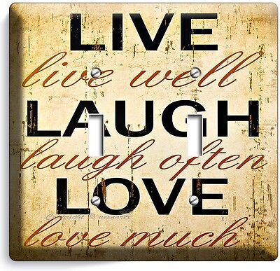 LIVE LAUGH LOVE RUSTIC COUNTRY DOUBLE LIGHT SWITCH WALL PLATE KITCHEN BEDROOM TV Dual Tv Wall Plate