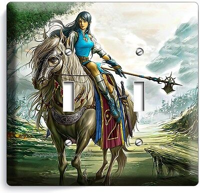 WARRIOR GIRL ON A WILD HORSE DOUBLE LIGHT SWITCH WALL PLATE TEEN BEDROOM TV ROOM Dual Tv Wall Plate