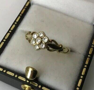 HM Hallmarked 9ct 9k Gold Ladies Bezel Set Diamond Daisy Cluster Ring Size N 1/2