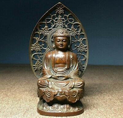 Antique carved Buddhism Vintage Bronze Sakyamuni Buddha Godness Kwan-yin Statue