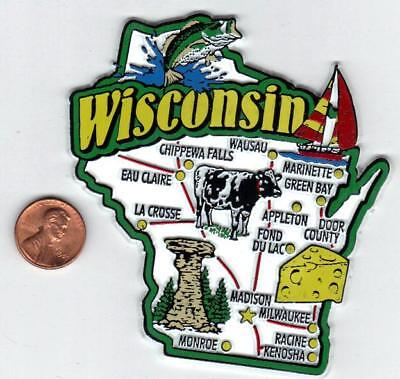 WISCONSIN STATE  MAP JUMBO  TOURIST MAGNET 7 COLOR  MADISON