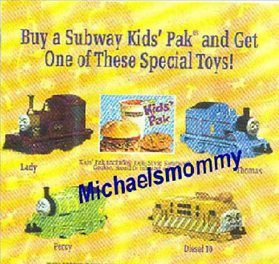 THOMAS the TANK TRAIN-SUBWAY PROMO!!  MAGIC RR-DIESEL 10,LADY,PERCY,THOMAS *NEW*