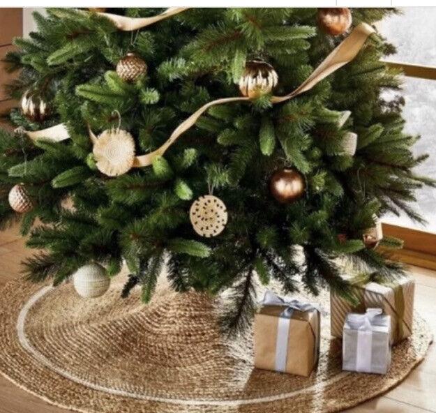 """48"""" Round Jute Tree Skirt White Trim Threshold Studio McGee New"""