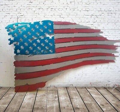 American Flag Sign Distressed Metal Art Home Decor Veterans Gift America Torn Metal Art Sign
