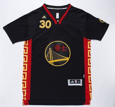 Nba Golden State Warriors Stephen Curry Chinese New Year Men Jersey Black