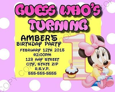 Minnie Mouse 1st First Birthday Invitations 8 pk Personalized chg OK - Minnie Mouse 1st Birthday Invitations