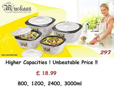 4 Piece  Stainless Steel Hot Cold Food Round Insulated Casserole Hot Pot Set