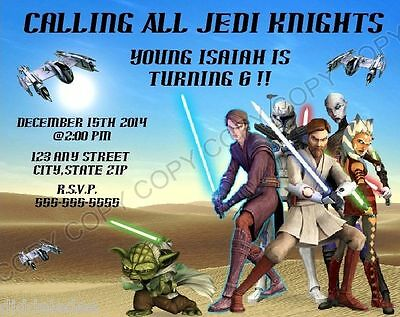 Star Wars Party Invitations (Star Wars Clone Wars Birthday Party Invitations w/env 8pk Personalize Changes)