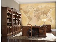 Brown World Map wall paper, W3.15M to H2.32