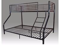 BRAND NEW-Solid Metal Bunk Bed SINGLE TOP DOUBLE BOTTOM &Mattress 14 Days/Money/Back/Guaranty