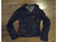 Ladies black Leather look jacket size 8