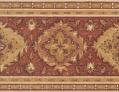 Wallpaper Border Designer Terracotta Rust Gold Tan Cream Tapestry