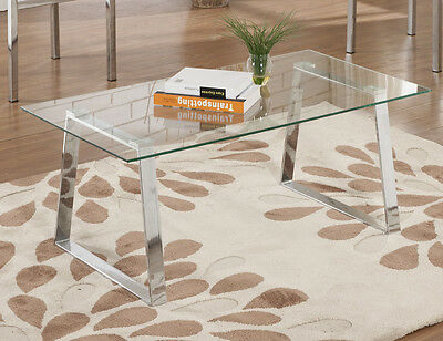تربيزه جديد Kings Brand Modern Design Chrome Finish With Glass Top Cocktail Coffee Table