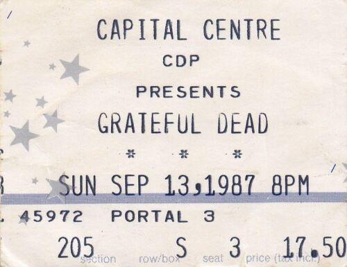 GRATEFUL DEAD TICKET STUB   09-13-1987  CAPITAL CENTRE