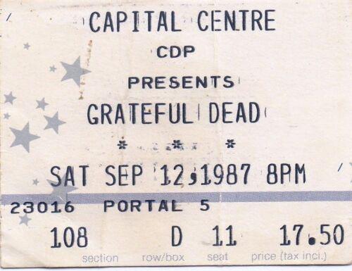 GRATEFUL DEAD TICKET STUB   09-12-1987  CAPITAL CENTRE