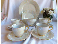 Vintage tea set - mother of pearl design, made in Czechoslovakia