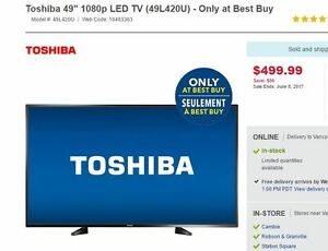 "Brand New 49"" LED Toshiba TV w/ Warranty"