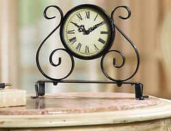 ANTIQUE METAL SCROLL TABLE & DESK CLOCK NEW