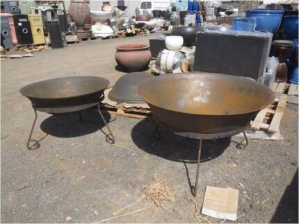 RUSTIC STEEL  FIRE PITS  / BOWS 30% OFF OUTDOOR BENCH TABLE POTS